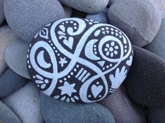 White Zen series ~ The Fortune Teller (Yours is good). Painted rock (sea stone) First snowfall in winter Billowy clouds on a summer day