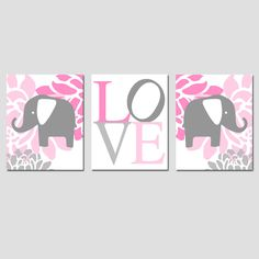 Nursery Art Prints Trio - Set of Three 8x10 Prints - Floral Elephant, LOVE Typography - Choose Your Colors - Pink, Gray, Yellow, and More. via Etsy.