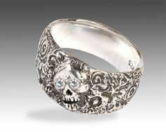 Womens Silver Skull Ring with Diamonds by Johnny10Rings on Etsy, $275.00