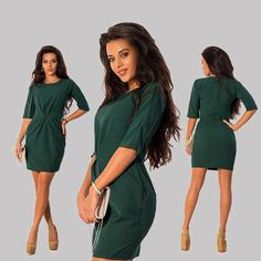 Women's Hunter Green Sexy 3/4 Sleeved Darted Bodycon Dress with Pockets. SKU: 4552492 Material: Polyester,CottonSilhouette: A-LinePattern Type: SolidSleeve Length: HalfDecoration: DrapedDresses Length: Above Knee, MiniWaistline: Empire Fits smaller than usual. Order a size larger than usual Please note.. this item may take 2-6 weeks shipping time as it is special order.