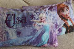 Elsa Anna Cotton Pillow Case FrozenPink Blue Pillow by BellaTurka
