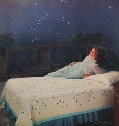 Love the charmingly fun star print bedspread and galaxy wallpaper!1950's ad