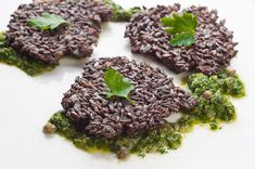 Love Michael's recipes. Have to make this for Chris soon - he'll love it. Black Rice Fritters with Chimichurri