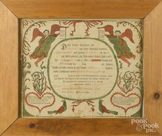 Southeastern Pennsylvania printed and hand colored fraktur birth certificate, dated 1804, 12 1/4'' - Price Estimate: $200 - $400