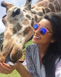 Shay Mitchell - shaym: Thanks for coming down to say hi! #whereisthegiraffeemojiwhenineedit?!  #GiraffeManor #Kenya