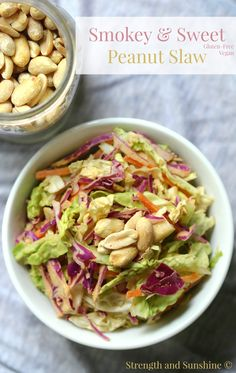 Smokey & Sweet Peanut Slaw   Strength and Sunshine @RebeccaGF666 Smokey and sweet, this slaw has it all. Crunchy cabbage,  crispy Asian pear, shredded carrots, and a smoky peanut sauce to bring it all together. This healthy gluten-free and vegan side dish will bring new meaning to the term coleslaw.