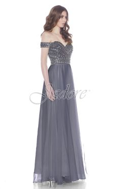 Jadore Style #J7060 Off the Shoulder Gown with Vintage bead work on bodice with full chiffon skirt.  Featured in Steel Blue, Ivory and Red, this gown can also be ordered in over 20 chiffon shades in sizes 2-26.  Bridesmaid, Maid of Honor, Mother of the Bride, Mother of the Groom, Prom, Evening Gown.  An excellent choice for your bridal party.  View more styles for dresses from Jadore Evening.