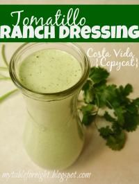 Tomatillo Ranch Dressing on MyRecipeMagic.com is a copycat Costa Vida recipe. Tastes so good!