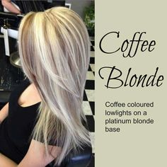 Coffee blonde hair color idea. Coffee colored lowlights on a platinum blonde base.