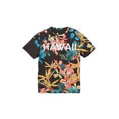 Label J Hawaii T-shirt Long featuring polyvore, fashion, clothing, tops, t-shirts, shirts, long black t shirt, black tee, holiday t shirts, tropical print shirt and print t shirts