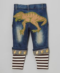 Another great find on #zulily! Blue Denim Dinosaur Ribbed-Cuff Jeans - Toddler & Boys by Rock'n Style #zulilyfinds