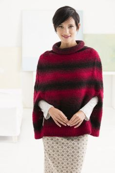 Make this beautiful ombre poncho with Lion Brand Scarfie - shop now and save for a limited time! Get the free pattern and make it with 3 - 4 balls of yarn (pictured in cranberry/black) and size 9 circular knitting needles. Poncho Knitting Patterns, Knitted Poncho, Knitted Shawls, Knitting Yarn, Free Knitting, Crochet Patterns, Knitting Needles, Scarfie Yarn, Lion Brand Yarn