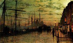 "John Atkinson Grimshaw, ""Humber Docks, Hull, 1884"" - WikiArt.org"