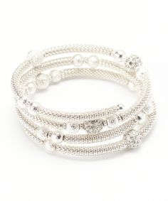 Silver Sparkle Bead Coil Bracelet | Daily deals for moms, babies and kids