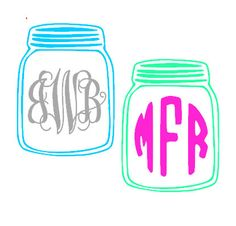 Mason+Jar+Monogram+Decal
