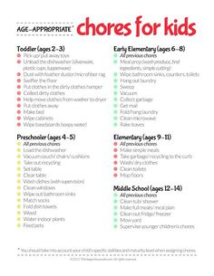 Age- Appropriate Chores for kids. Is it bad that Brooklyn was doing half the chores at 18 months? Kids And Parenting, Parenting Hacks, Peaceful Parenting, Gentle Parenting, Parenting Styles, Parenting Quotes, Parenting Plan, Foster Parenting, Age Appropriate Chores For Kids