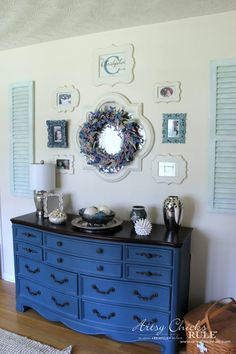 Beautiful dresser painted in Aubusson Blue Chalk Paint® by Artsy Chicks Rule.