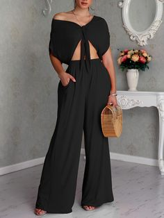 Shop Solid Knot Front Crop Top & Wide Leg Pants Sets right now, get great deals at joyshoetique Tailored Jumpsuit, Short Jumpsuit, Wide Pants Outfit, Wide Leg Pants, Knit Fashion, Womens Fashion, Fashion Trends, Style Fashion, Liliana