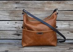 Camel Tan Leather CrossBody Purse  Fold Over Clutch by FeralEmpire