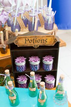 """Magical"" potions from the must-see Sweet Fairy Garden Birthday Party at Kara's Party Ideas! Fairytale Birthday Party, Sleepover Birthday Parties, Garden Birthday, Tea Party Favors, Birthday Party Favors, Fairy Baby Showers, Sweet 16 Themes, Fairy Tea Parties, Halloween Fairy"