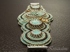 Bracelet for Big Maria -  another turquoise howlite embroidered bracelet