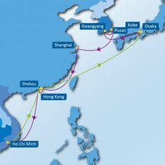 KVC SERVICE: Osaka – Kobe – Kwangyang – Pusan – Shanghai – Hong Kong – Shekou – Ho Chi Minh – Shekou – Hong Kong – Osaka