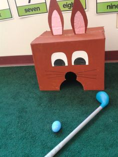 Easter Bunny Golf - fun preschool Easter activity - great for a preschool Easter Party or just a new indoor spring activity