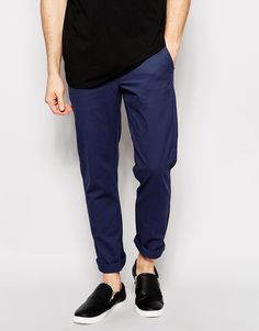 $44, Navy Chinos: Cheap Monday Chino Slim Fit Indigo. Sold by Asos. Click for more info: https://lookastic.com/men/shop_items/214595/redirect