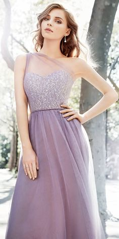 Hayley Paige Occasions Style 5703 Lace&Tulle Gown, Silver Metallic/Mauve,Size 10 Mauve English net A-line bridesmaid gown Silver metallic lace bodice with sheer draped one shoulder, natural waist, gathered skirt. Lavender Bridesmaid Dresses, One Shoulder Bridesmaid Dresses, Long Lavender Dress, Lavender Wedding Dress, Sparkly Bridesmaids, Bridesmaid Gowns, Strapless Dress Formal, Prom Dresses, Formal Dresses