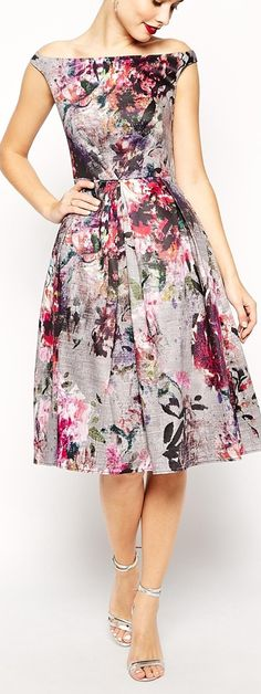 Add a little cardigan and this is perfect! floral midi dress