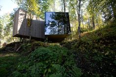 Juvet Landscape Hotel, Jensen & Skodvin Architects - these little (290 sq ft or so) jewels are cabins (! I know) in a wilderness area with incredible views, when you look out you see nothing but the view.  Nice, huh?  More pics in the board.
