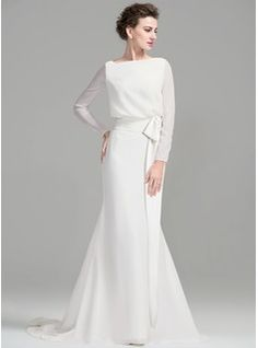 Sheath/Column Scoop Neck Court Train Chiffon Wedding Dress With Ruffle Bow(s) (002076025) - Wedding Dresses - JJsHouse