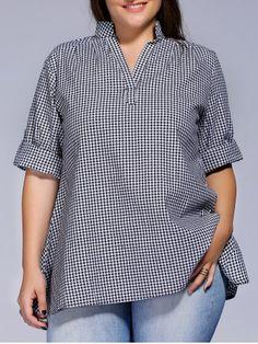 Más el tamaño de manga corta a cuadros de Ajuste Holgado blusa de las mujeres