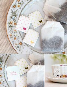 Cute tea bag tags! DIY Vintage Tea Tins | Damask Love Blog