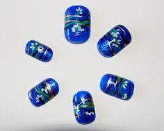 Blue China hand painted false nails set of 12 by LaurasPills, $8.00