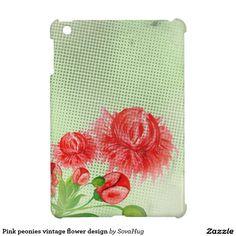 Pink peonies vintage flower design iPad mini case