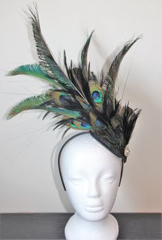 Black fascinator with peacock feathers, wedding fascinator, wedding headpiece, feather headpiece, party fascinator, party headpiece