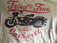 Vintage Carhartt Motor Cycles Mens White L T Shirt 100 Cotton Tried and True | eBay