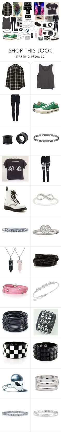 """Date N W/ Bff"" by lillybearrawrr ❤ liked on Polyvore featuring Yves Saint Laurent, Zara, Converse, Glamorous, Dr. Martens, Anatomy Of, City x City, BERRICLE, Bling Jewelry and Pieces"