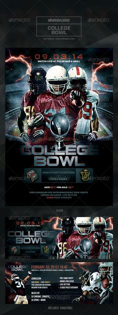 "icRiver            Detail   	    Football Tournament Flyer/Poster  	  ""2014 College Bowl""  – This flyer/poster was designed for a football-themed event. Both the 4.25×6.25 vertical & 11.25×4.25 horizontal variations are included. New and unique versions of the template can be achieved by adding and altering text, font style and layout, colors, as well"