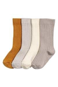 Beige/camel. BABY EXCLUSIVE/PREMIUM QUALITY. Socks in soft, rib-knit wool-blend fabric.