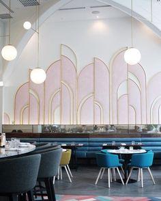 Oretta toronto art deco/art nouveau εστιατόρια, φωτιστικά, κ Restaurant Design, Decoration Restaurant, Deco Restaurant, Luxury Restaurant, Restaurant Kitchen, Industrial Restaurant, Hotel Decor, Design Hotel, Restaurant Banquette