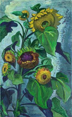 """Hermann Max Pechstein  Zwickau 1881 – 1955 Berlin     """"SONNENBLUMEN""""  1931. Oil on canvas.   115 x 70,5 cm (45 ¼ x 27 ¾ in.)"""