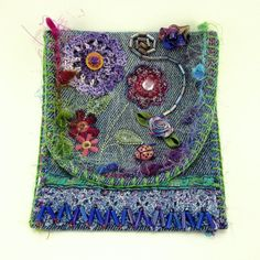 Small Handcrafted Denim Pouch with Beading and Handstitching