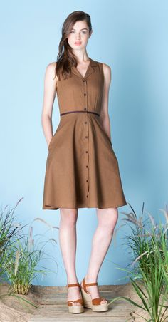 Look no further than Betina Lou Spring-Summer 2015 collection for your spring wardrobe. IRENE Ochre/Espresso : Sleeveless, checked pattern shirt dress with flared skirt, notched collar and buttoned placket at front. Soft and silky fabric, made in Japan.