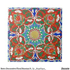Retro Decorative Floral Russian Pattern Red Blue Small Square Tile