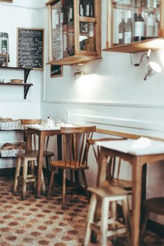 Rustic wooden seating is a great choice for a European or bistro style cafe.