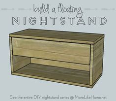 Build your own nightstand with 18 free plans! This one is a floating nightstand that attaches right to the wall for a sleek, uncluttered vibe. {MoreLikeHome.net}
