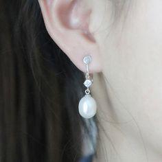 clip earringsclip pearl earrings for non pierced ear by PearlOnly