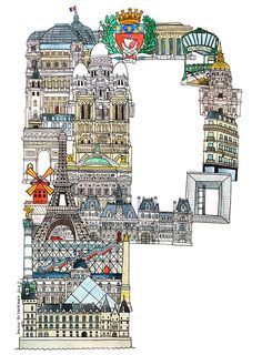 Paris Hugo Yoshikawa illustrated a complete alphabet using the famous monuments from each cities. The ABC illustration series of European cities was made as part of an exhibition Tour Eiffel, Deco France, Tuileries Paris, Famous Monuments, Paris Ville, I Love Paris, Travel Illustration, Art Graphique, Vintage Travel Posters